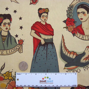 Alexander-Henry-TODO-PARA-TI-Taupe-Tattoo-Kahlo-Cotton-Quilt-Fabric-1-Yd-8-034-long