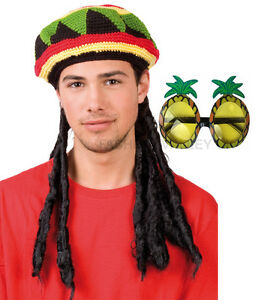 RASTA JAMAICAN BOB MARLEY HAT WIG DREADLOCKS & GLASSES ...