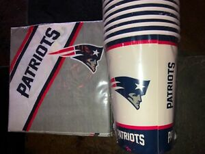 20-Paper-Cups-amp-20-Napkins-New-England-Patriots-16-oz-PartyWare