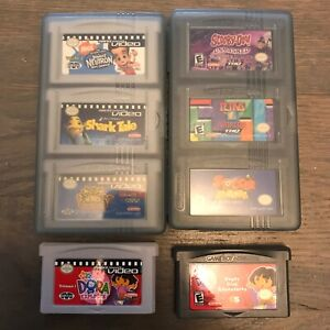 Gameboy-Advance-Game-Lot-8-Games-w-Case-KND-Shark-Tale-Tetris-World-Dora-Soccer