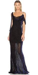 DVF Black Violet Knot Tie Gown Maxi Dress Rrp$900 Black Tie Formal Designer