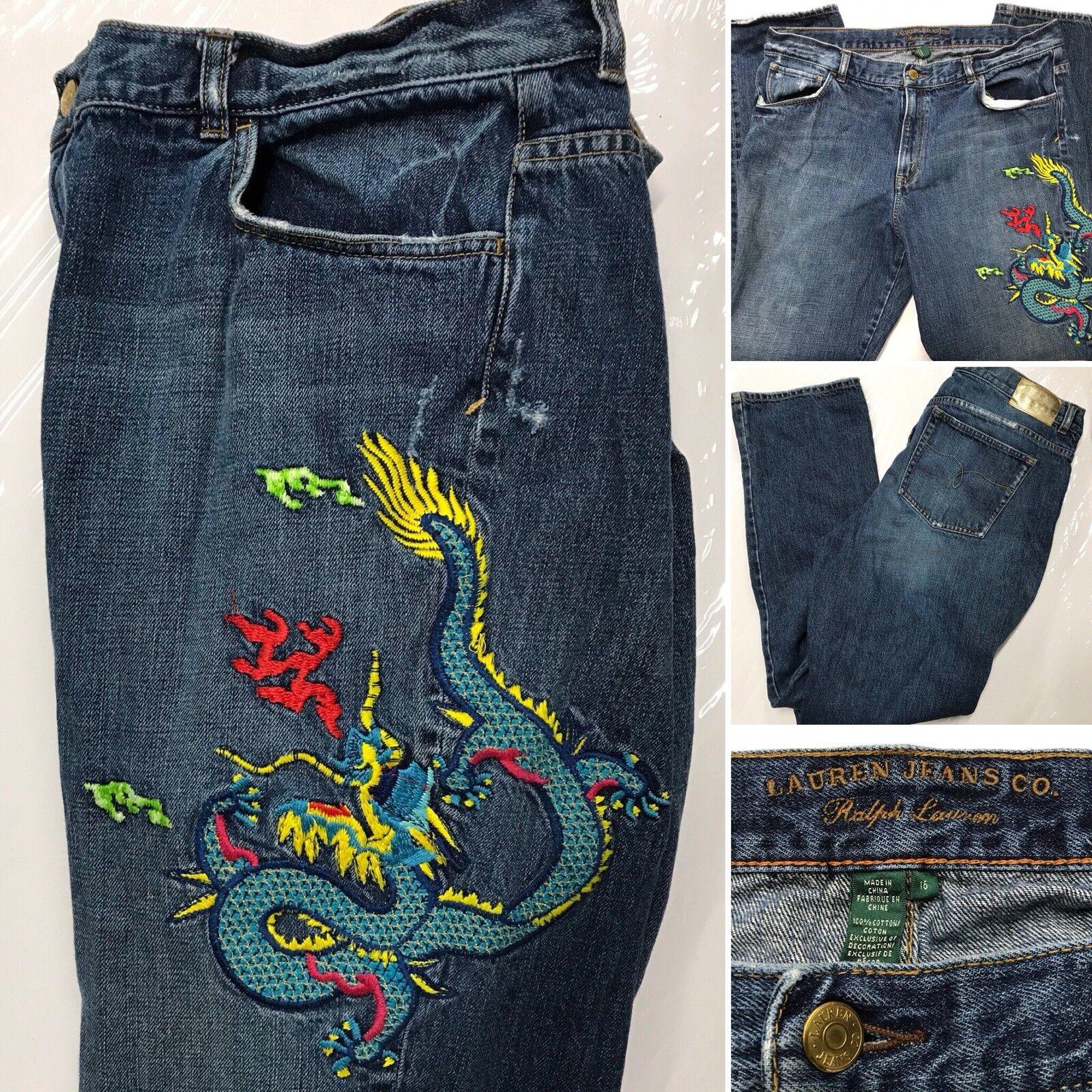 Ralph Lauren Denim DRAGON Embroidered Jeans Straight Women's 16 LRL