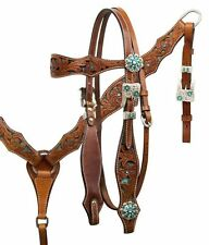 WESTERN BLING ! LEATHER HORSE BRIDLE HEADSTALL WITH REINS & BREAST COLLAR PLATE