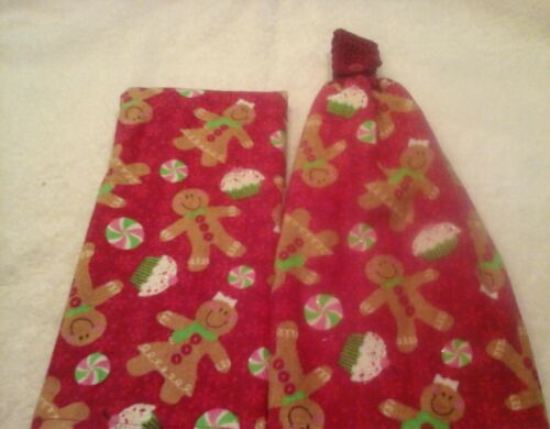Double kitchen towel set xmas gingerbread cupcakes crocheted top matching towel