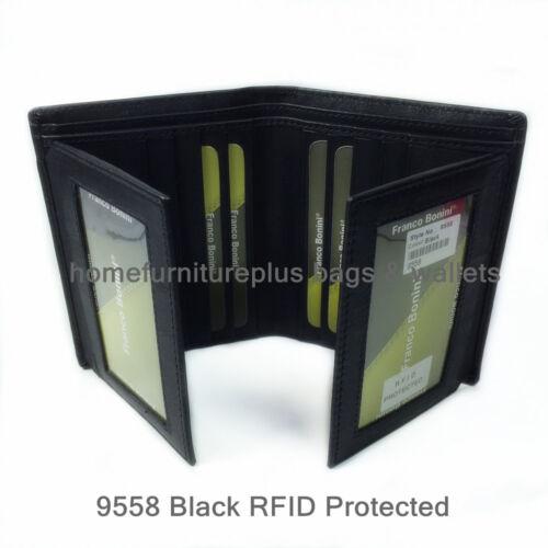 Franco Bonini Men New RFID Protected Genuine Leather 18Card Holder Bifold Wallet