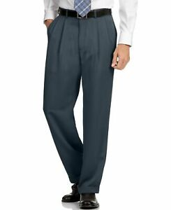 $205 PERRY ELLIS PORTFOLIO men BLACK FIT PLEATED FRONT DRESS PANTS 34 W 29 L