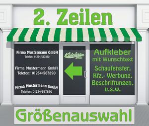 2-Zeilen-Aufkleber-Beschriftung-30-180cm-Werbung-Sticker-Werbebeschriftung