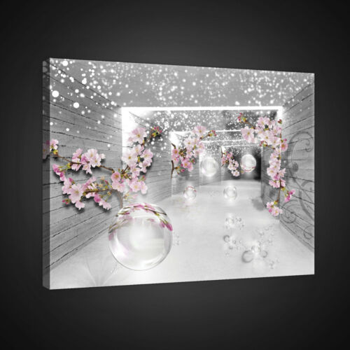 CANVAS Wandbild Leinwandbild Bild Tunnel Korridor 3D Blumen Magie Foto 14N2358O1