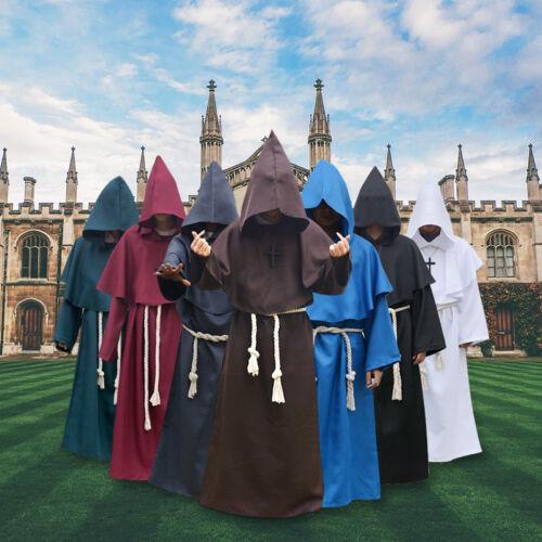 Halloween Fancy Robe Wizard Friar Cowl Priest Monk Set Medieval Cosplay Costume