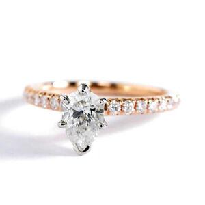 0-75-Ct-Si2-H-Corte-Pera-Frances-6-Pinza-Diamante-Pave-Anillo-de-Compromiso