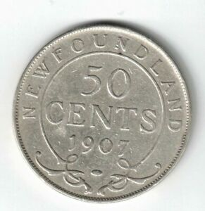 NEWFOUNDLAND-1907-50-CENTS-KING-EDWARD-VII-CANADIAN-STERLING-SILVER-COIN
