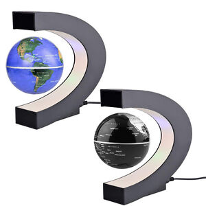 C shape LED World Map Decoration Magnetic Levitation Floating Globe Light New