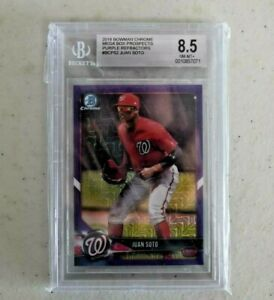 2018 Bowman Chrome Juan Soto Purple Refractor 133/250 BGS 8.5 NM/MT+ Nationals