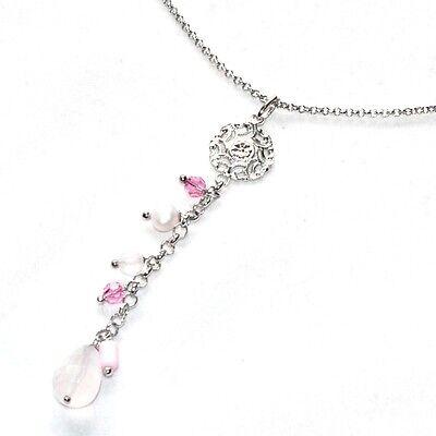 Luminosa Collier Chaîne Pendentif Argent Massif 925 Quartz Rose Perle Bijou Necklace In Vendita