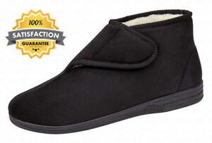 7 Ou Style Suede Fourrure Doublées Noir Bleu 6 En Mens Taille Pantoufles Micro Velcro Boot AqpwAgvx6