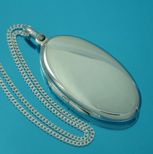 925 Sterling Silver Large Plain Oval Locket Pendant Chain Necklace Jewellery Box