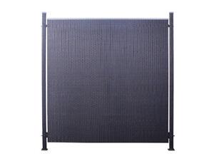Poly Rattan Sichtschutz Zaun Set 3 Teilig Schwarz Ca 194cm Prime