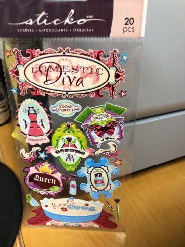 NEW! EK Success Sticko DOMESTIC DIVA MOM Scrapbooking Sticker Sheet 16 Pcs