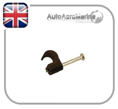Brown Coax Cable Clips 6-7mm by Tower
