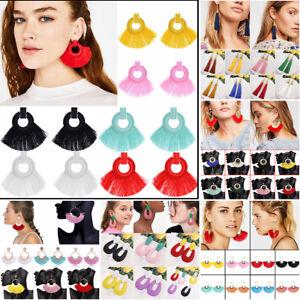 Women-Boho-Alloy-Crystal-Long-Tassel-Fringe-Drop-Dangle-Hook-Ear-Stud-Earrings