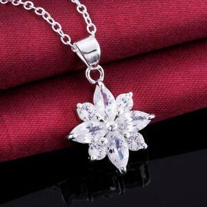 Damen-Halskette-Blume-weiss-Zirkonia-oval-rund-45-cm-Sterling-Silber-pl-CN581