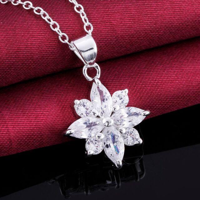 Damen Halskette Blume weiß Zirkonia oval rund 45 cm Sterling-Silber pl. CN581
