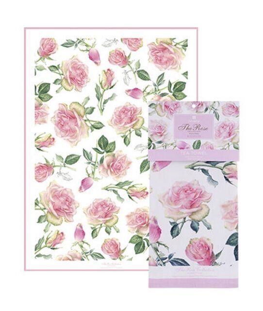 Pink Roses Tea Towel Ashdene Flowers 100% Cotton New Enchanted Stems Leaves