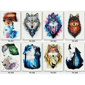 Details About Watercolor Wolf Head Waterproof Temporary Tattoo Sticker Body Art Cool Design