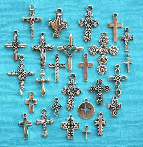 Deluxe Cross Charm Collection Antique Silver Tone 26 Different Charms COL258