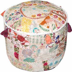 Indian Handmade Round Pouf Cover Vintage Cotton Ottoman Patchwork Floor Cover Ottomans, Footstools & Poufs