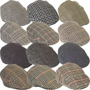 e05d64e1c Details about Country Style Wool Blend Ivy Flat Cap with Dogtooth Pattern