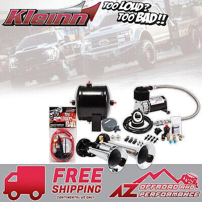 Chrome Kleinn Air Horns HK2 Complete Dual Truck Air Horn Package