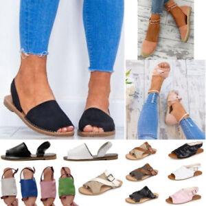 Women-039-s-Beach-Sandals-Flat-Espadrilles-Summer-Peep-Toe-Slip-On-Gladiator-Shoes-B