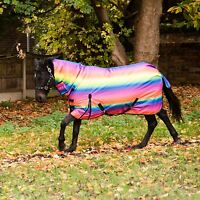 Best On Horse 300g Heavyweight Full Fixed Neck Rainbow Print Winter Turnout Rug