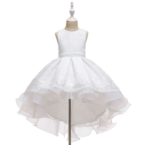 Flower Girls Kids Princess High Low Party Pageant Wedding Tulle Dress Ball Gown