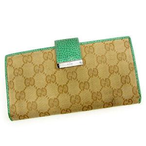 ff40f74dfa3 Gucci Wallet Purse Long Wallet GG Beige Green Woman unisex Authentic ...