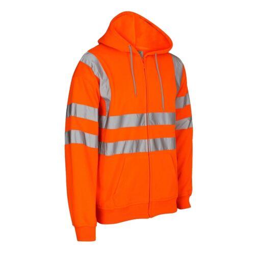 Men Hi Vis Visibility Work Wear Zip Hoodie High Viz Safety Hoody Jacket Top S-XL