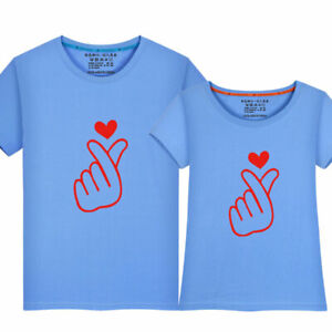 DéTerminé 2019 Femmes Hommes Summer Tops Vêtements De Loisirs Couple T-shirt Main Doigt Cœur-afficher Le Titre D'origine BéNéFique à La Moelle Essentielle