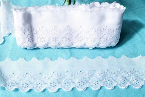 Mercerie Broderie ★Dentelle 8 cm coton★Au metre Blanc Bx2 couture Neuf Lace trim