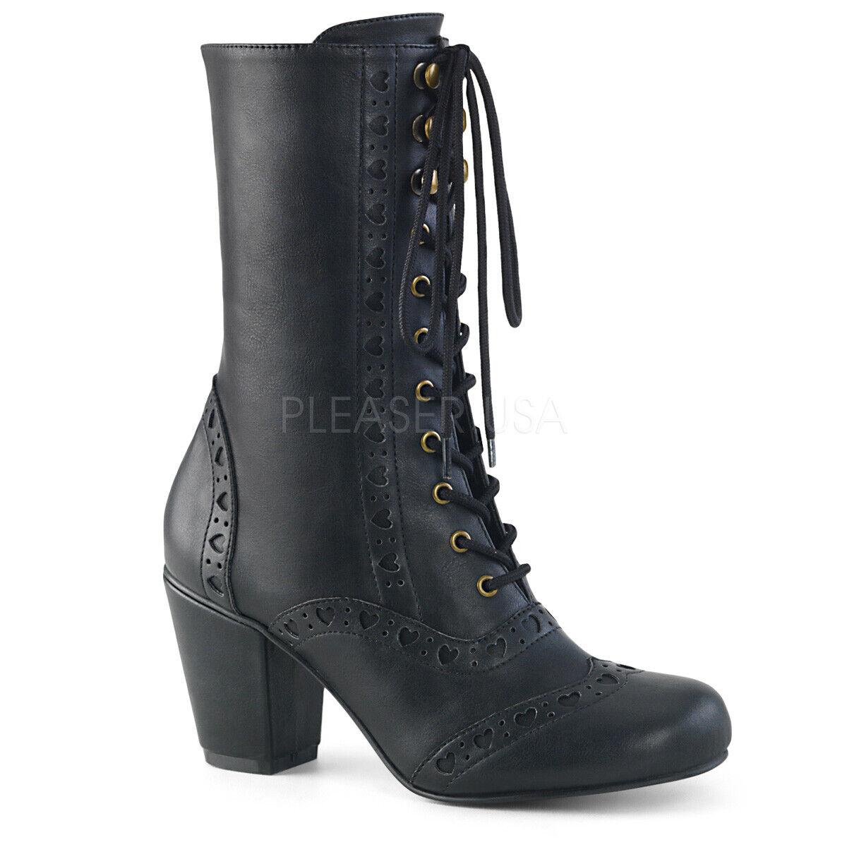 Demonia Vivika - 200 para Mujeres Cuero Negro Vegano Puntera rojoonda Con Cordones botas Mitad de la pantorrilla