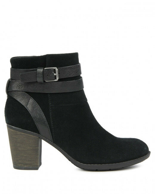 Clarks Black Suede ladies ankle boots 7 41 New D