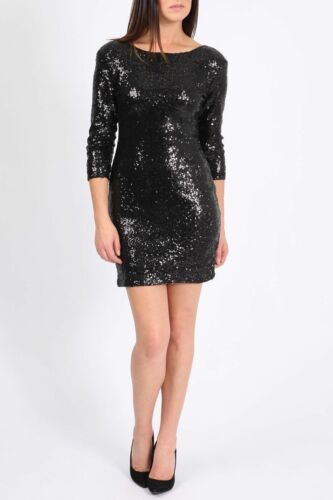 Black Short 3//4 Sleeve Sequin Bodycon Formal Eve Cocktail Party Dress