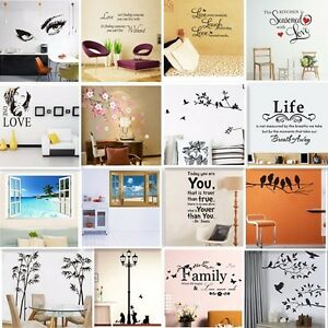 Vinyl-Home-Room-Decor-Art-Quote-Wall-Decal-Stickers-Bedroom-Removable-Mural-DIY