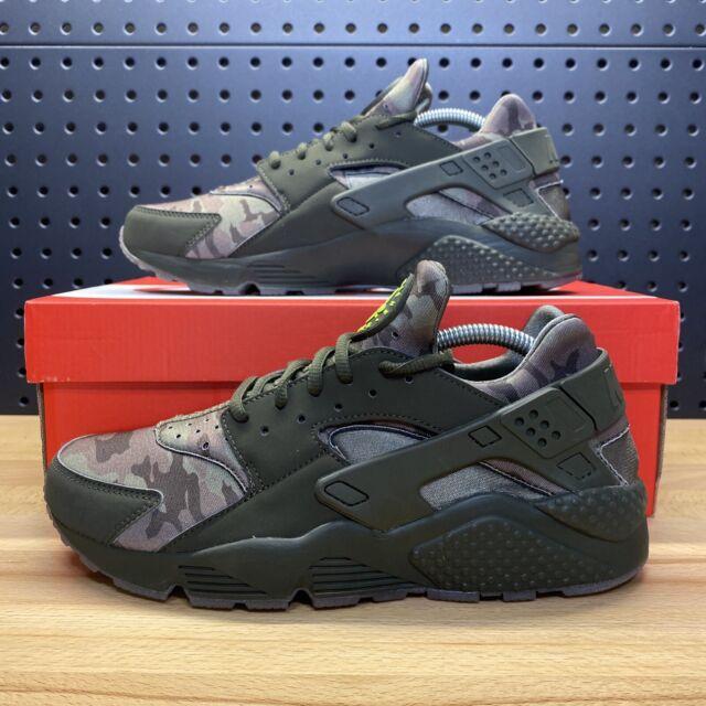 Nike Air Huarache Run Camo Mens At6156-300 Cargo Khaki Sequoia Gum Shoes  Size 10