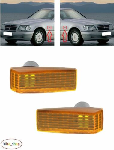 Droit ambre MB Classe S W140 1991-1998 2X Side Indicator Repeater Paire Gauche