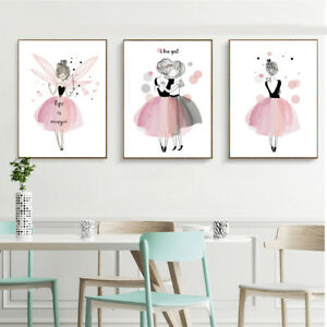 Image Is Loading Kawaii Girl Nordic Style Cartoon Canvas Poster Wall