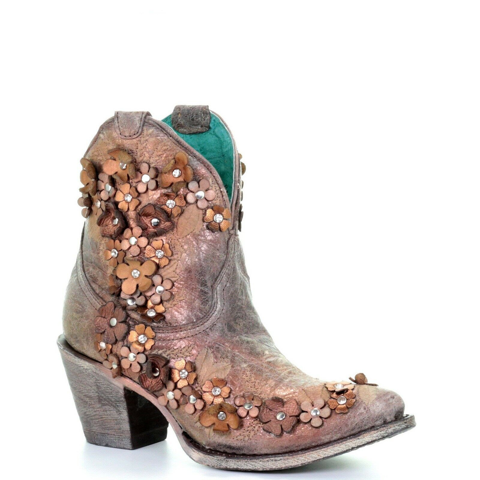 Corral Ladies Brown Floral Overlay Studs & Crystals Ankle Boots A3679