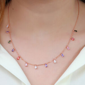 COLLIER-ARGENT-MASSIF-925-STERLING-amp-OR-ROSE-AVEC-MULTICOLORE-ZIRCON