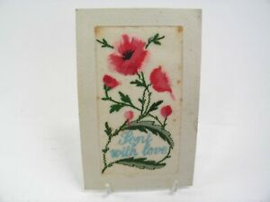 Antique-postcard-valentine-card-embroidered-silk-Sent-With-Love