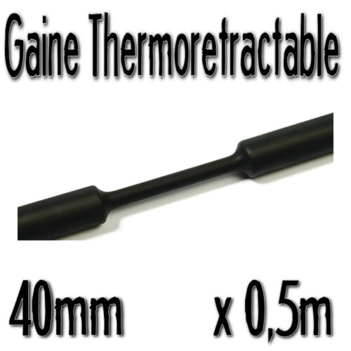 Gaine Thermo Rétractable 2:1 0,5m Diam Noir 40 mm
